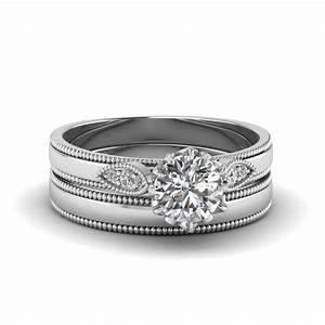 round cut milgrain simple diamond wedding set in 14k white With plain wedding ring sets