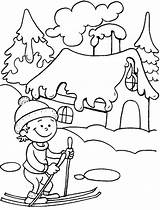 Coloring Winter Pages Season Ski Seasons Drawing Colouring Drawings Ride Fun Printable Greetings Preschool Christmas Bestcoloringpages Nature Landscape Doo Kindergarten sketch template