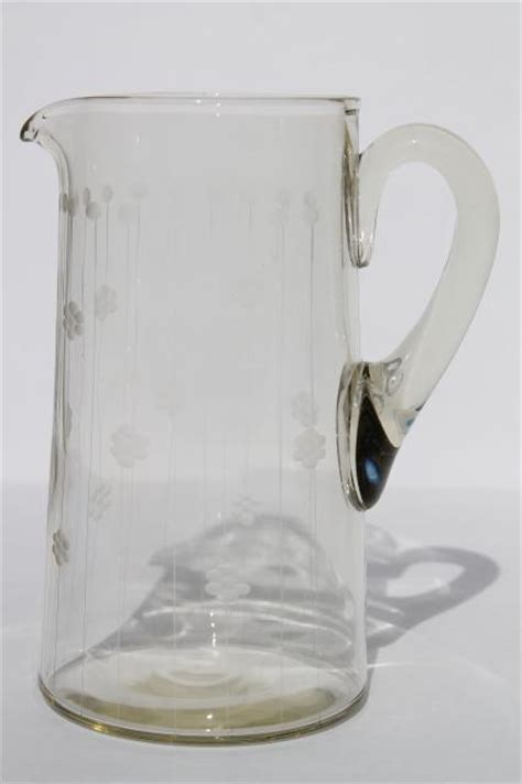 deco vintage etched glass cocktail pitcher or lemonade