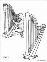 Harp Coloring Abcteach Instrument sketch template