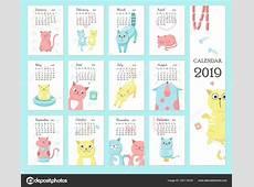 Plantilla de vector de calendario 2019 con gatos lindos