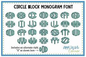 applique corner circle block monogram embroidery fontfor With block monogram font