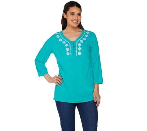 qvc blouses quot as is quot denim co 3 4 sleeve gauze peasant blouse w