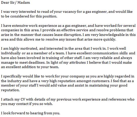 gas engineer cover letter  learnistorg