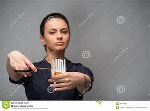 Stop Smoking Concept. Young Woman Cut Cigarettes Stock ...