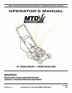 Mtd 54m Series 21 Inch Rotary Lawn Mower Owners Manual