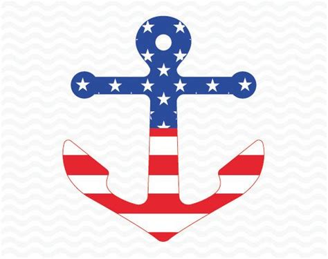 This listing includes zip folder containing: Patriotic anchor design. American flag 4th of July. SVG ...