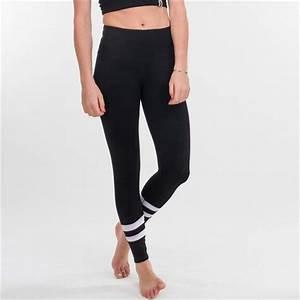 Black Double White Stripe Womenu0026#39;s Leggings Yoga Pants Workout Activewear