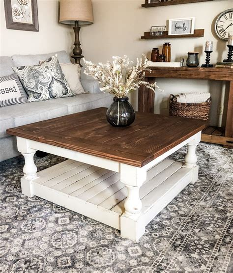 Related article about rustic coffee tables on pinterest. Rustic Baluster farmhouse Coffee Table special walnut square | Coffee table farmhouse, Coffee ...