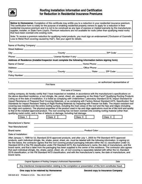 roof certification form template sampletemplatess