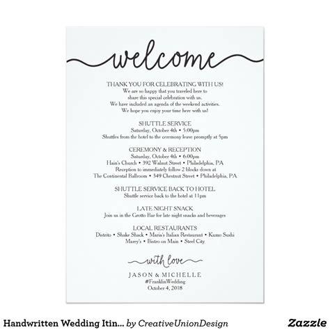 handwritten wedding itinerary wedding  zazzle