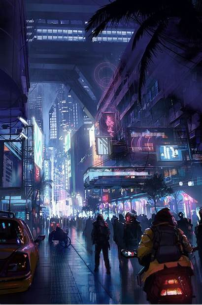 Neon Cyberpunk Futuristic Street Lights Lincoln Wallpapers