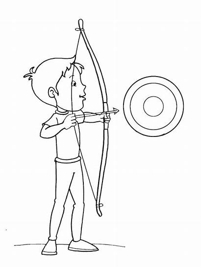 Arrow Coloring Bow Pages Target Archery Boy