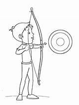 Coloring Arrow Bow Boy Target Pages Archery Targets Arrowhead Printable Getcolorings sketch template