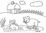Farm Coloring Pages Animals Pigs Activities Crafts Farmer Oink Diy Tractor sketch template