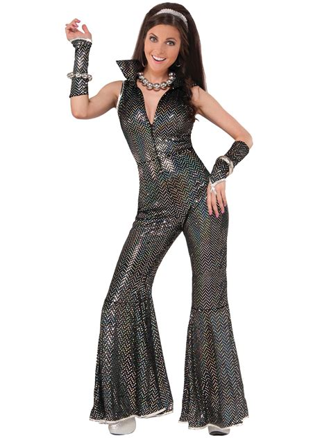 Ladies 70s Disco Jumpsuit Costume Womens Groovy Diva Flare Fancy Dress Outfit | eBay