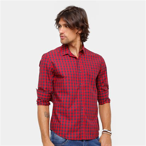 Camisa Xadrez Ellus Manga Longa Classic Fit Red Masculina