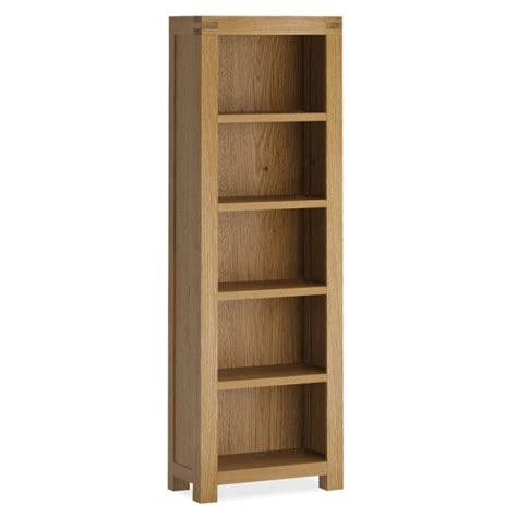 Assembled Bookcases by Sherwood Oak Narrow Bookcase Wax Finish Fully
