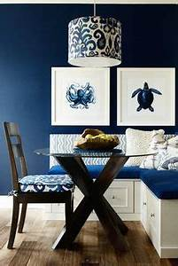 Navy blue kitchens on pinterest blue kitchen island for Best brand of paint for kitchen cabinets with seashell prints wall art
