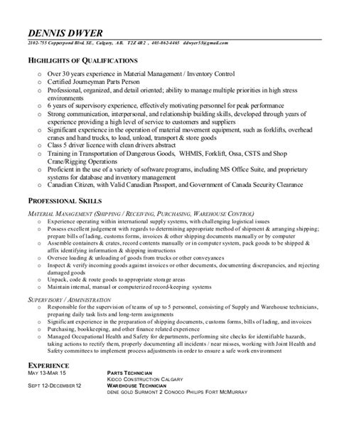 warehouse technician resume free sle resume for