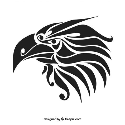 black tribal eagle vector tattoo vector