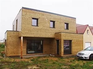 maison toit plat en ossature bois With maison bois toit plat