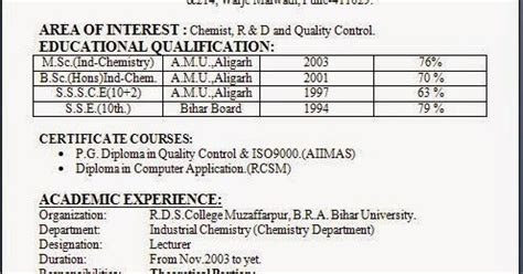 resume format for msc chemistry freshers format of resume sle