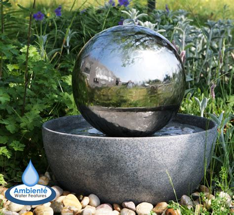 sphere water feature stainless steel led