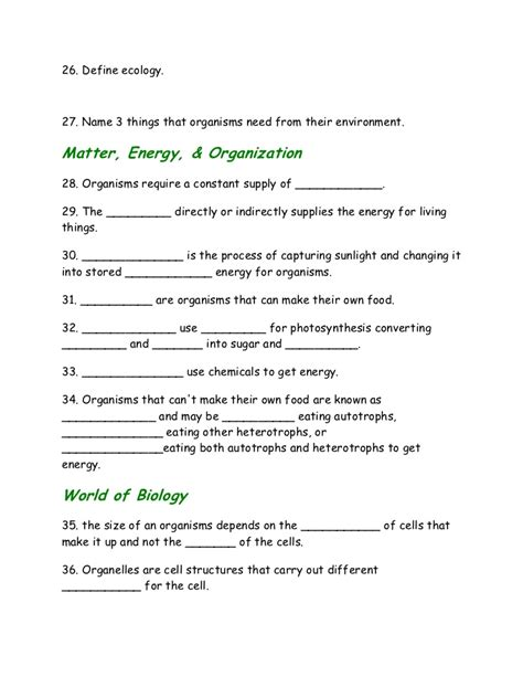 introduction to biology worksheet from notes