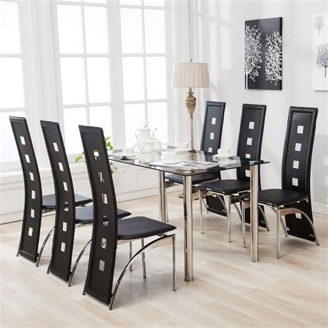 black dining room table set 7 dining table set and 6 chairs black glass metal