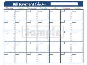 Printable Monthly Bill Payment Calendar