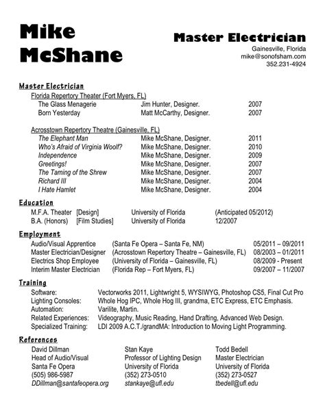 Resume For Journeyman Electrician by 19 Master Electrician Resume Resume Sles