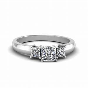 half carat three stone princess cut engagement ring in 950 With simple princess cut wedding rings