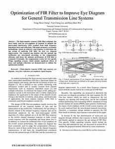 Pdf  Optimization Of Fir Filter To Improve Eye Diagram For General Transmission Line Systems
