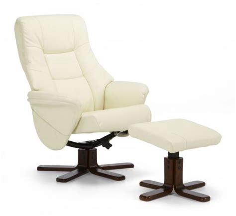 Curved wing sides provide a stylish arm detail. Serene Drammen Cream Leather Swivel Recliner Chair With ...