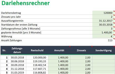 Darlehen Laufzeit Berechnen by Kreditrechner F 252 R Excel Annuit 228 Tendarlehen Berechnen