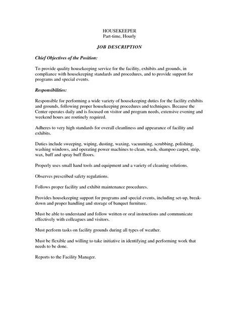 impressive housekeeping resume responsibilities about