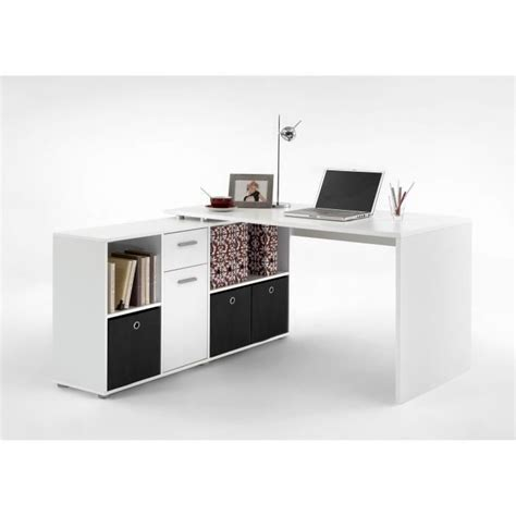 bureau angle zito bureau angle reversible contemporain blanc l 136 cm