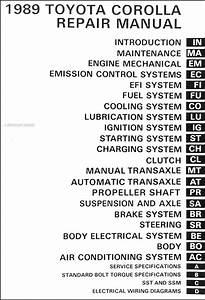 1989 Toyota Corolla Repair Shop Manual Original