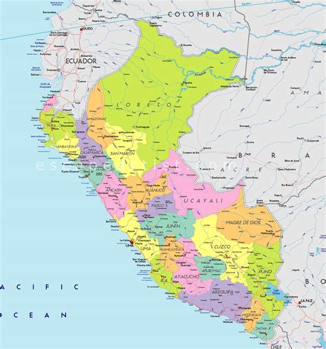 Mapa Politico De Peru
