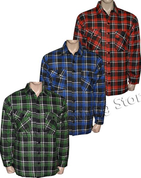 flannel shirt jacket with quilted lining mens padded quilted lumberjack check flannel work shirt