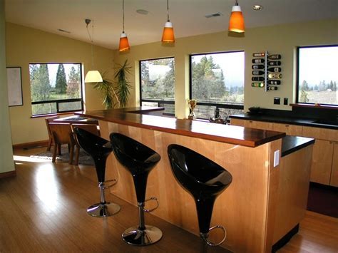 Modern Kitchen Bar Design Ideas with Bright Interior