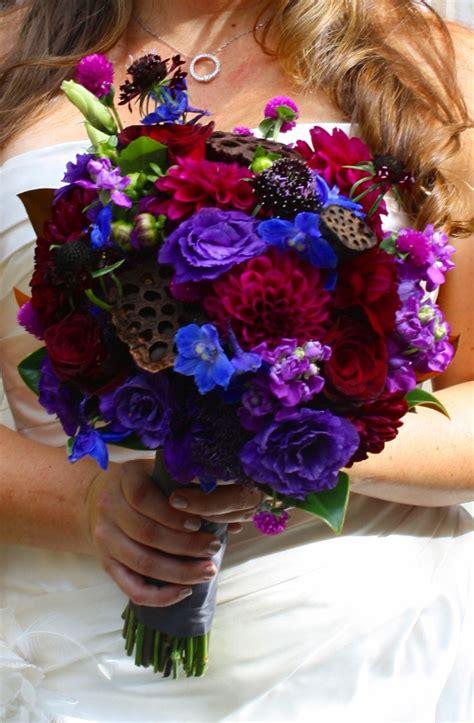 Jewel Tone Brides Bouquet Burgundy Purple And Blue