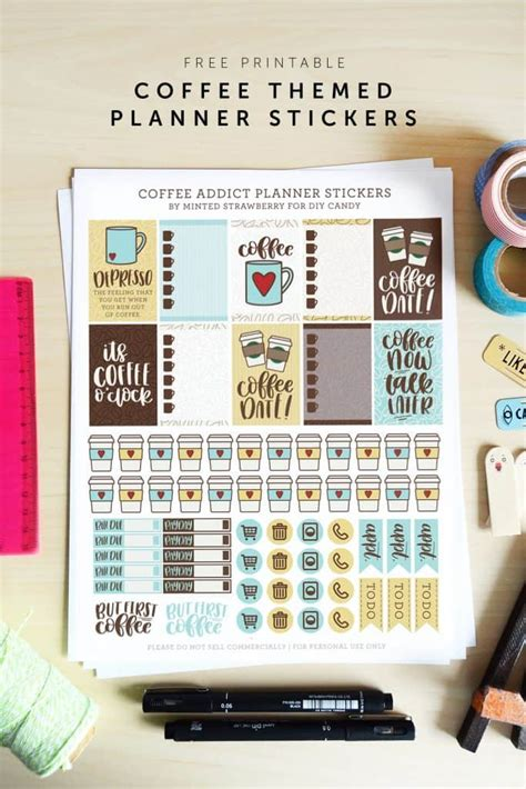 printable coffee stickers   planner diy candy