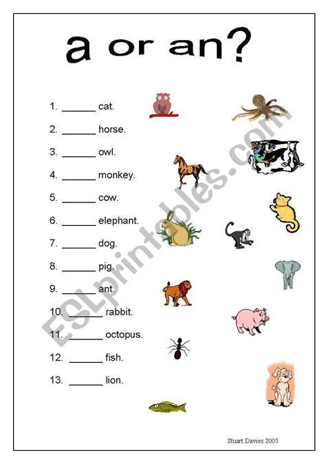 a or an animals worksheet esl worksheet by stoodi