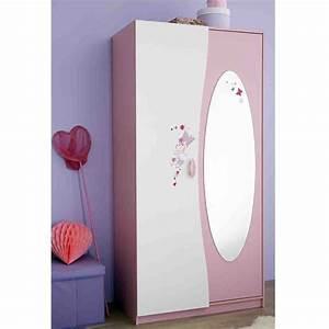 Armoire 2 portes avec penderie et miroir Papillon Dya Shopping fr