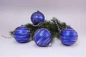 Weihnachtskugeln Aus Lauscha : 4 kugeln 6cm blau matt silber geringelt christbaumkugeln ~ Orissabook.com Haus und Dekorationen