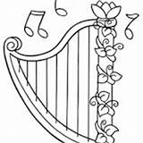 Harp Pages Coloring Sheet Template Templates David Seal Playing sketch template