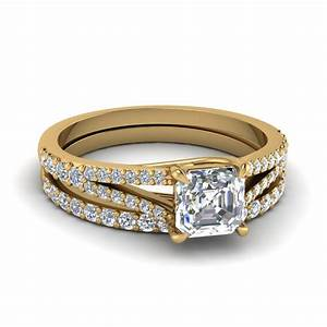 asscher cut split band petite diamond wedding set in 14k With asscher cut wedding ring set