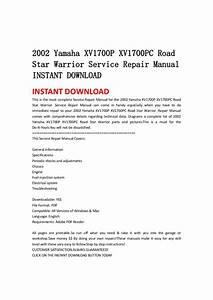 2002 Yamaha Xv1700 P Xv1700pc Road Star Warrior Service